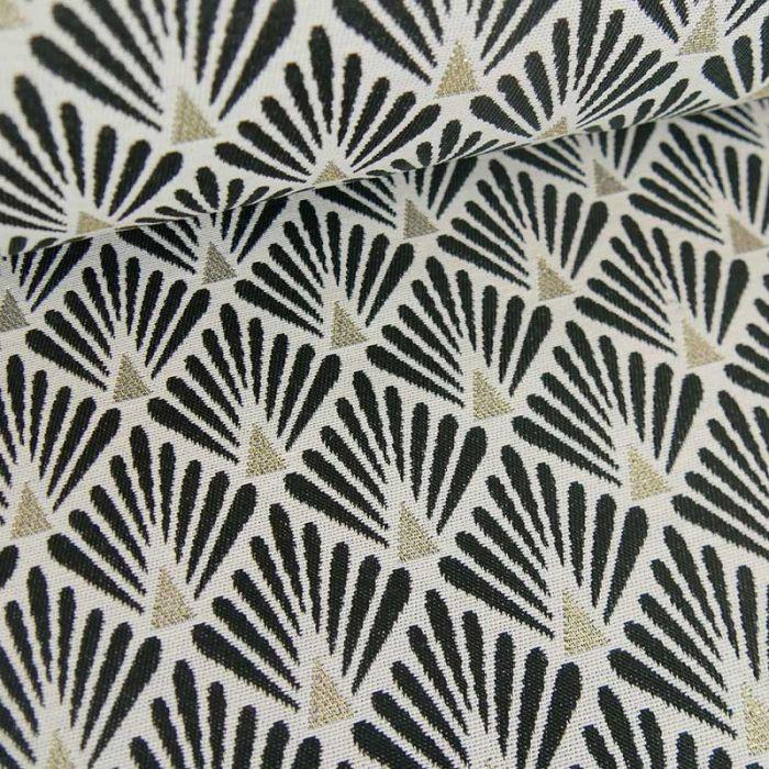 Tissu jacquard écailles noir - or x 10 cm