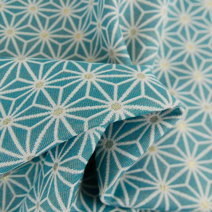 Tissu jacquard étoiles bleu - or