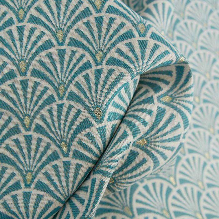 Tissu jacquard éventails bleu - or