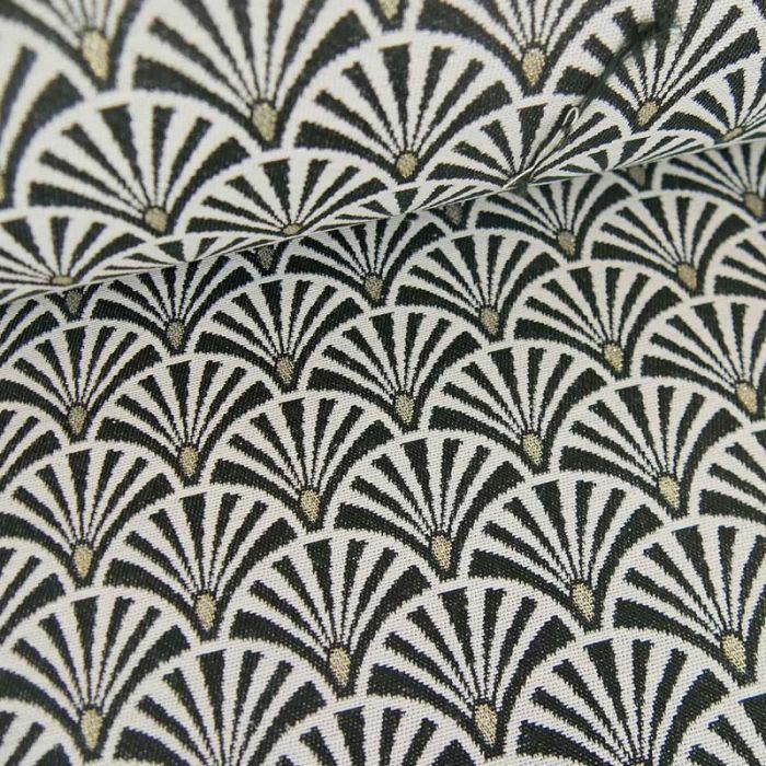 Tissu jacquard éventails noir - or x 10 cm