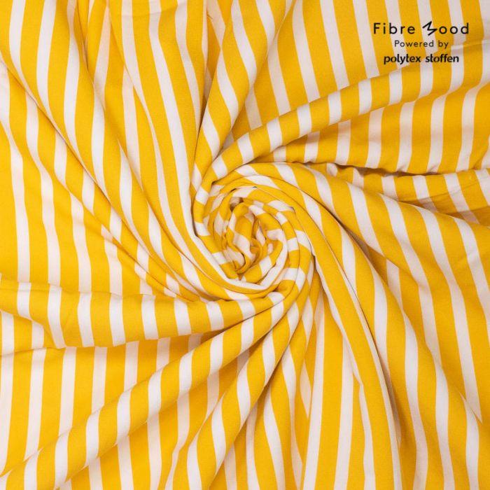 Tissu crêpe de viscose rayures moutarde - Fibre Mood x 10 cm