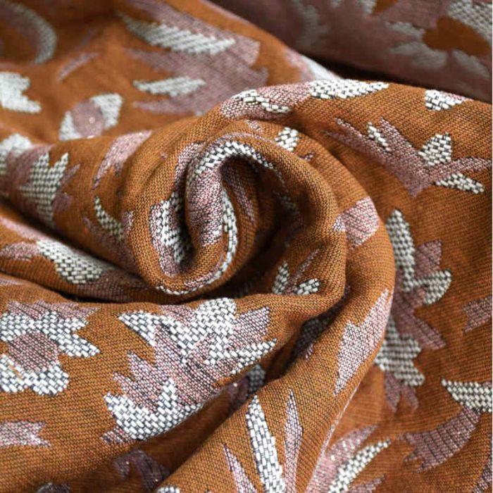 Tissu jacquard Pampa ambre - Studio Walkie Talkie x 10 cm