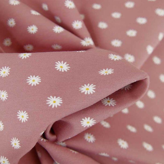 Tissu jersey bio marguerites - rose x 10 cm