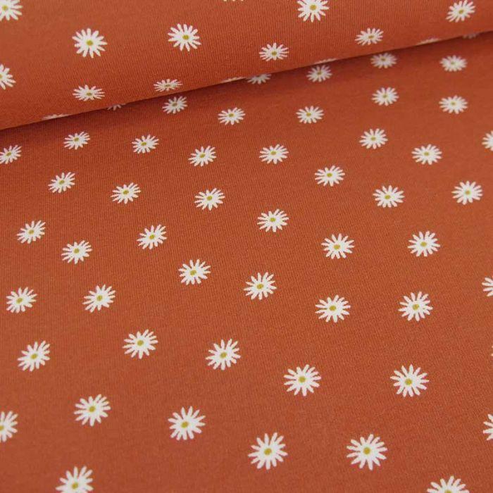 Tissu jersey bio marguerites - rouille x 10 cm