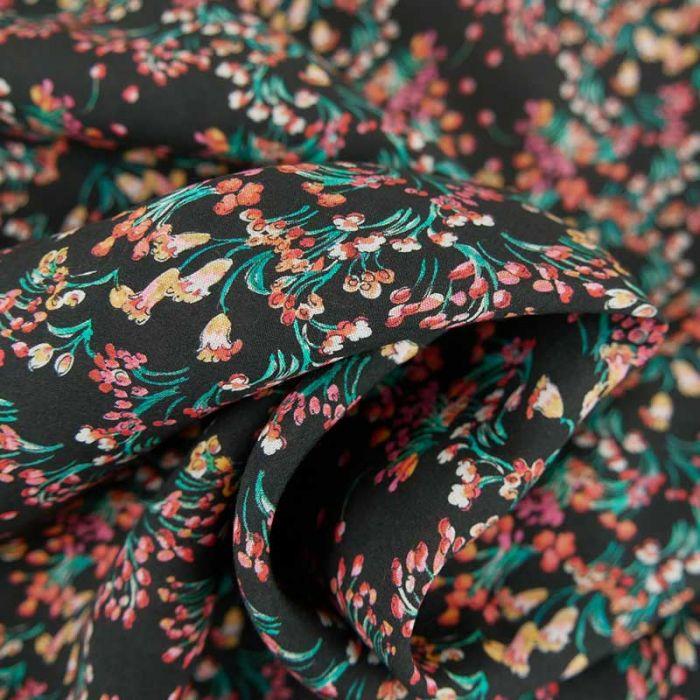 Tissu coton fleuris Olbia - noir x 10 cm