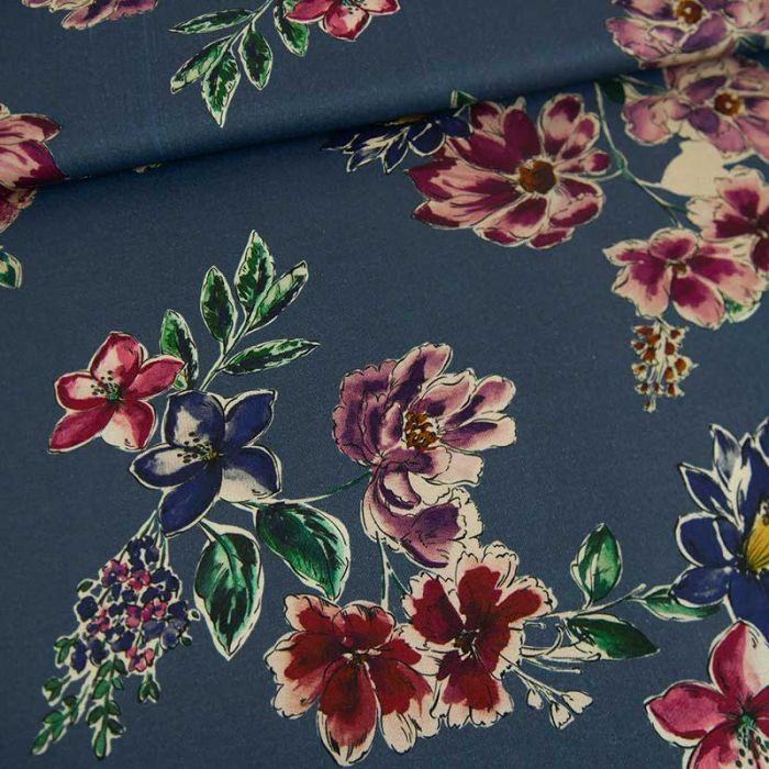 Tissu viscose Delhi - bleu x 10 cm