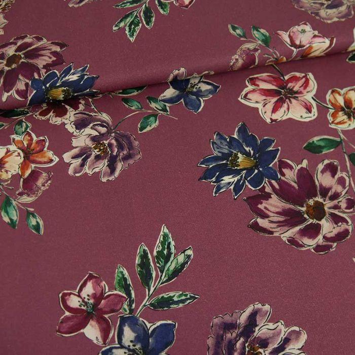 Tissu viscose Delhi - pourpre x 10 cm