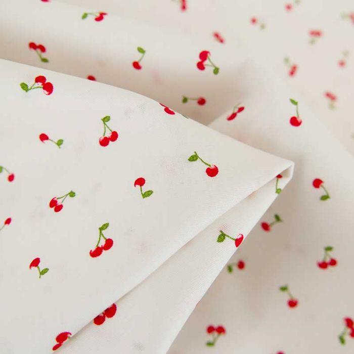 Tissu popeline de coton cerises - blanc x 10 cm