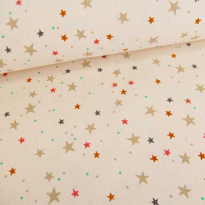 Tissu coton lavé étoiles - champagne x 10 cm
