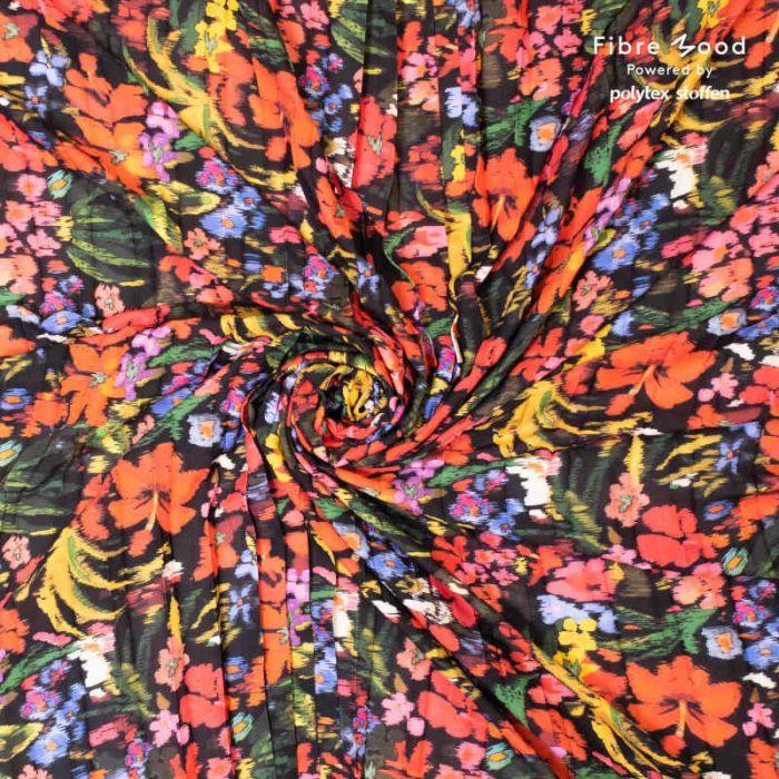 Tissu crêpe plissé fleurs tropicales - Fibre Mood x 10 cm