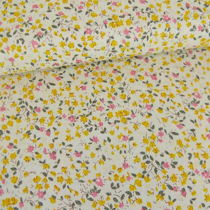 Tissu popeline coton Elisa - jaune x 10 cm