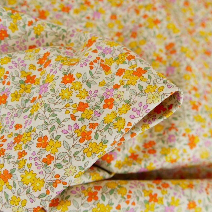 Tissu popeline coton Célestine - jaune x 10 cm