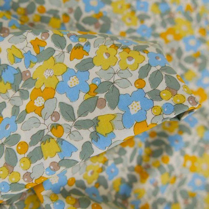Tissu popeline coton Anita - jaune x 10 cm