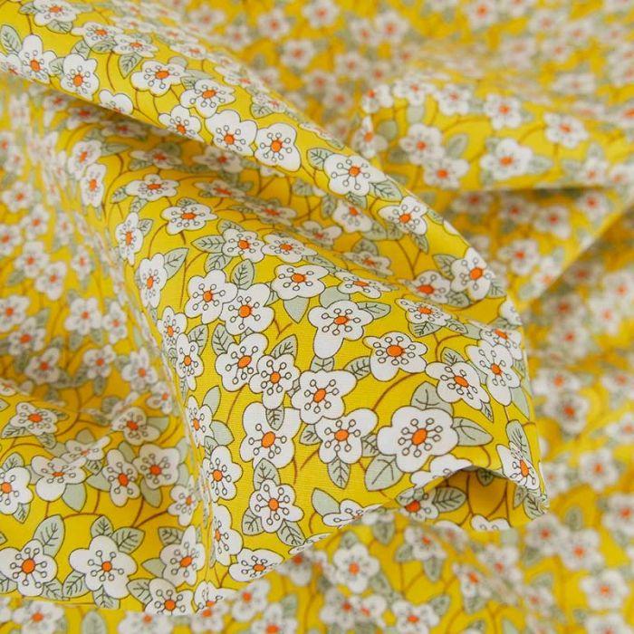 Tissu popeline coton Lucia  - jaune x 10 cm