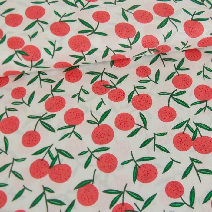 Tissu popeline coton fruits d'été - blanc x 10 cm