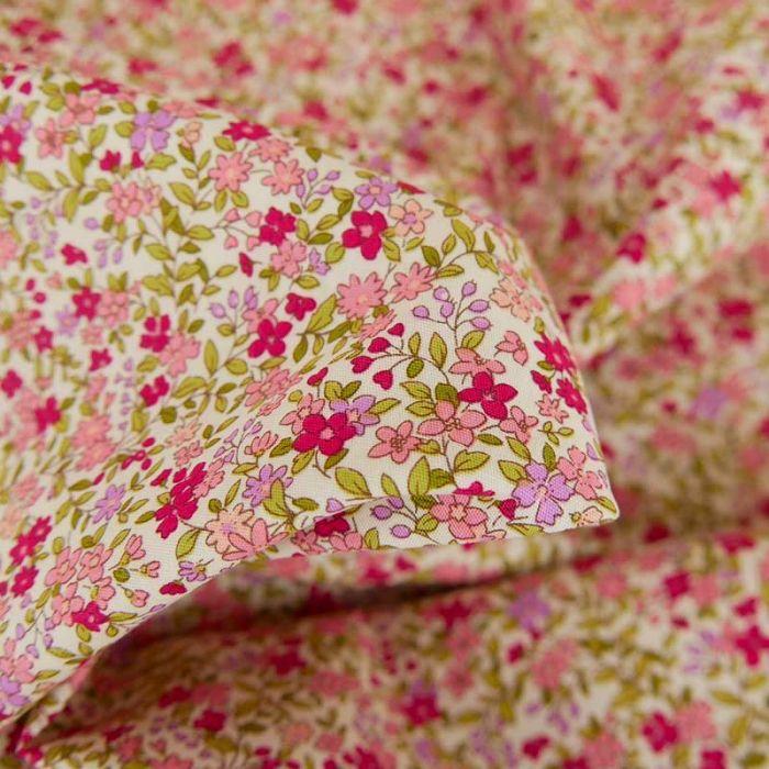 Tissu popeline coton Célestine - rose x 10 cm