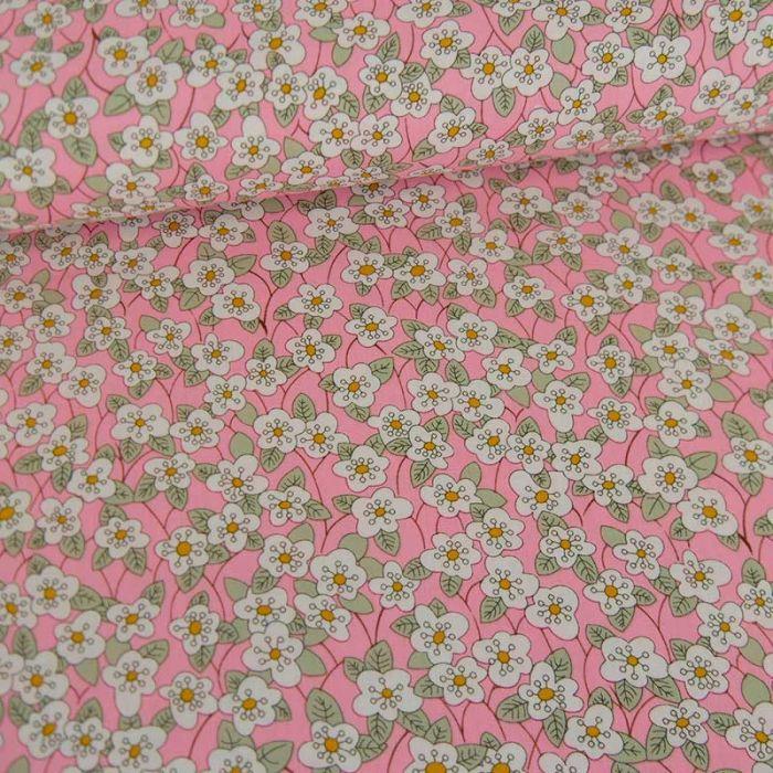 Tissu popeline coton Lucia  - rose x 10 cm