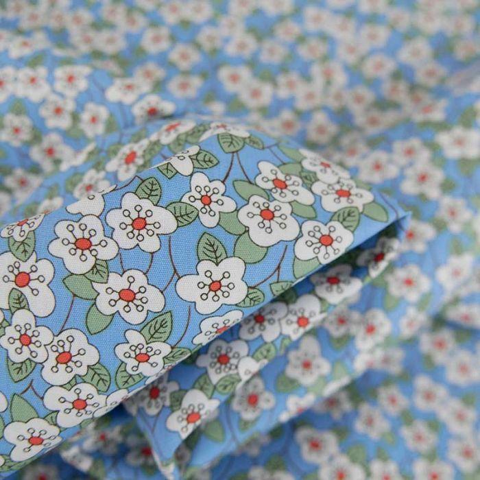 Tissu popeline coton Lucia  - bleu x 10 cm