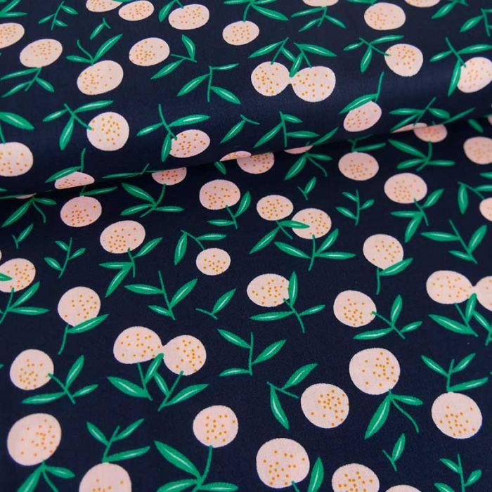 Tissu popeline coton fruits d'été - marine x 10 cm
