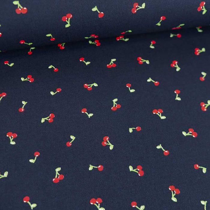 Tissu popeline de coton cerises - marine x 10 cm