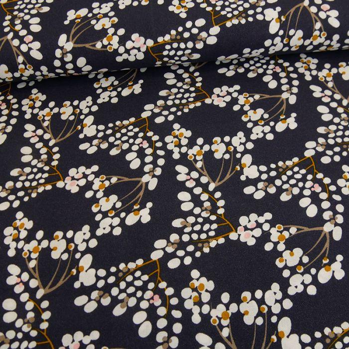 Tissu viscose fleurs de coton - violet foncé x 10 cm
