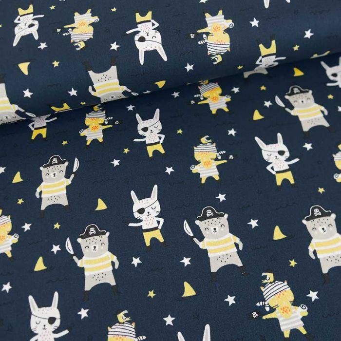 Tissu popeline de coton pirates - canard  x 10 cm