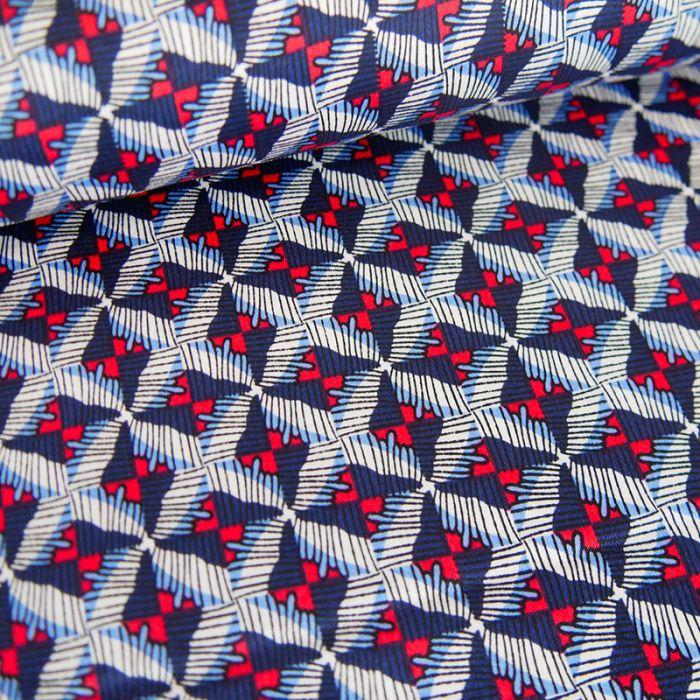 Tissu coton stretch croisillons - rouge x 10 cm