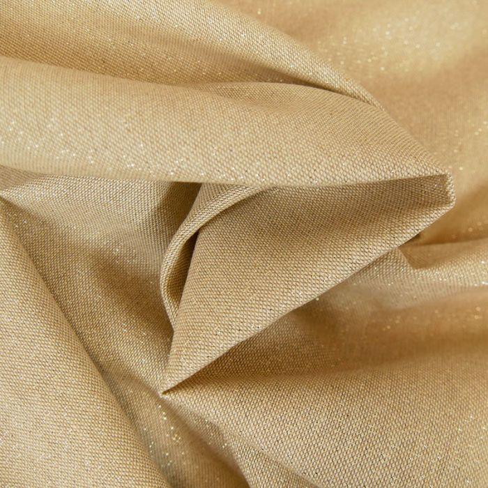Tissu toile coton lurex doré - beige x 10 cm