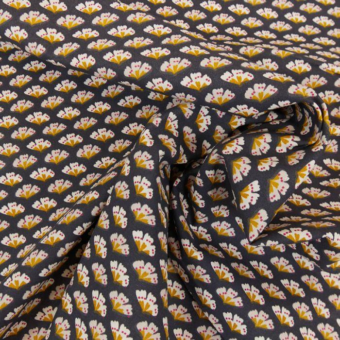 Tissu coton fleurs - gris anthracite x 10cm