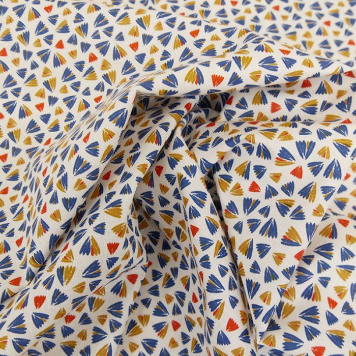 Tissu coton pétales - marine x 10cm