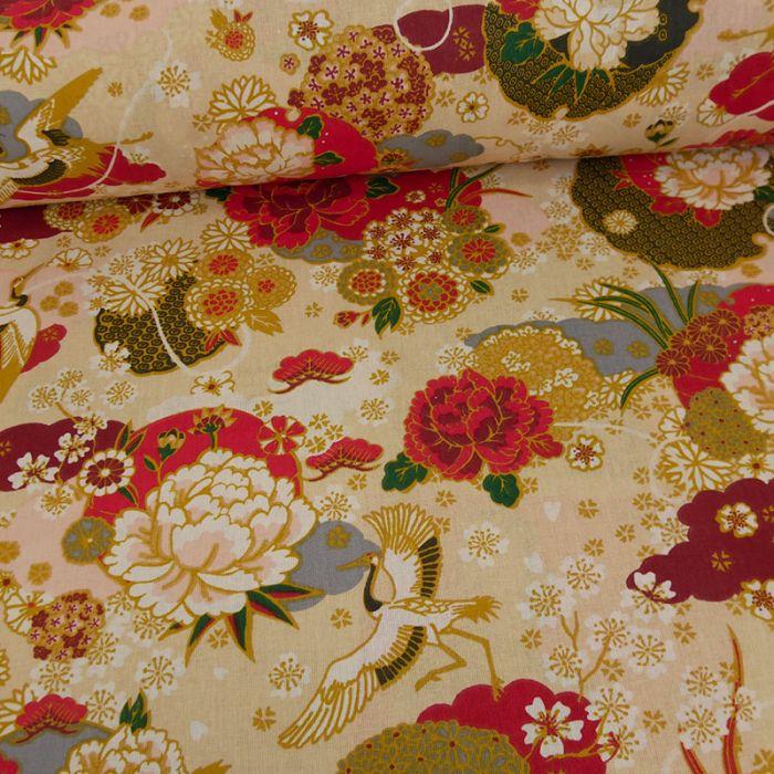 Tissu cretonne hérons - jaune x 10 cm