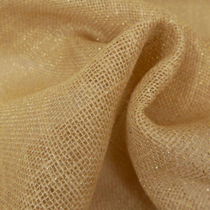 Tissu toile de jute lurex - ficelle x 10 cm