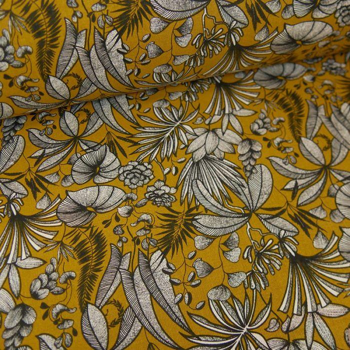 Tissu cretonne feuilles tropicales - moutarde x 10 cm