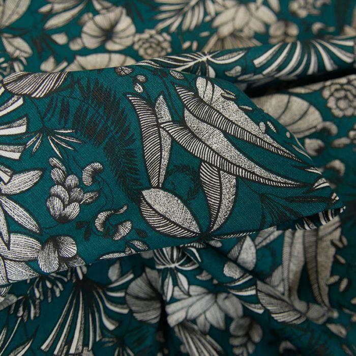Tissu cretonne feuilles tropicales - canard x 10 cm
