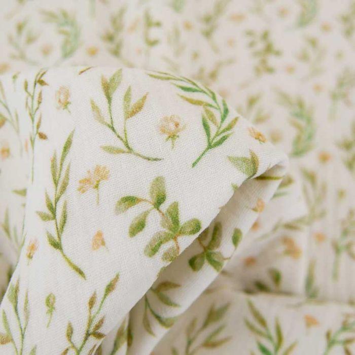 Tissu double gaze herbier Oeko-tex - écru x 10 cm