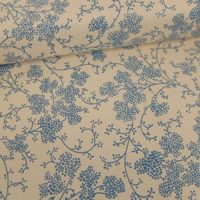 Tissu popeline de coton arabesques florales - écru x 10 cm