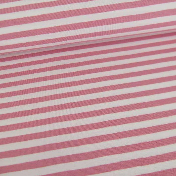 Tissu jersey rayures Oeko-Tex - rose x 10 cm