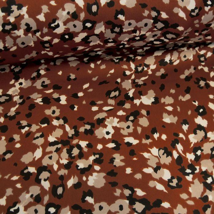 Tissu viscose tacheté - marron x 10 cm