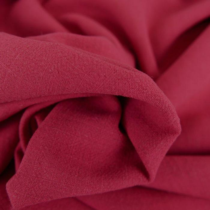 Tissu viscose lin - framboise x 10 cm