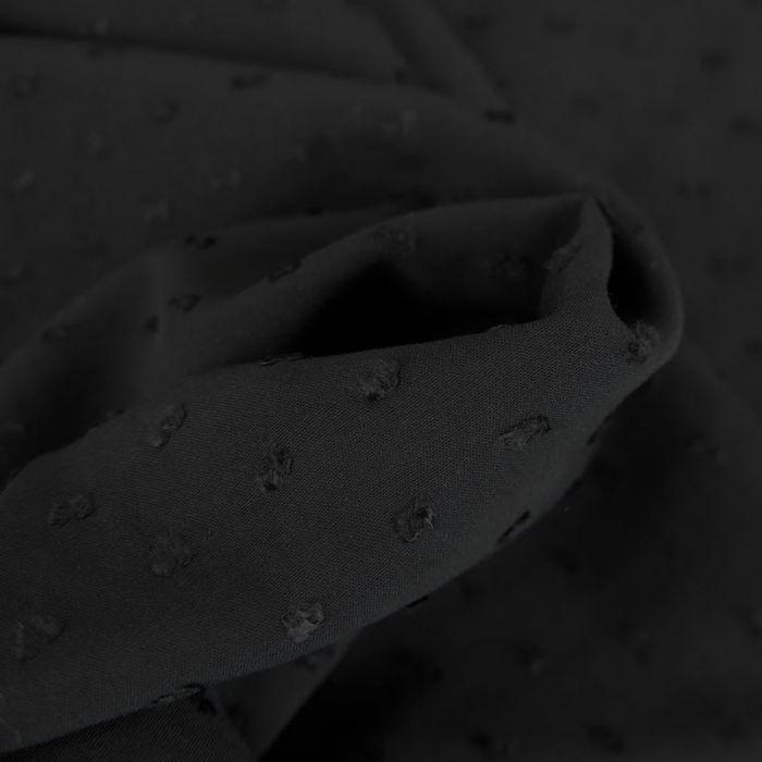 Tissu viscose plumetis - noir x 10 cm