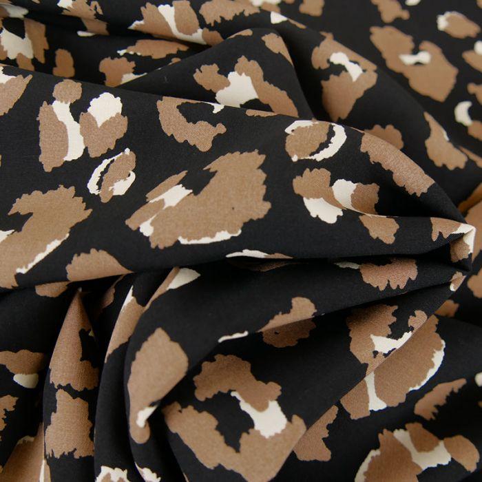 Tissu viscose léopard  - noir x 10 cm