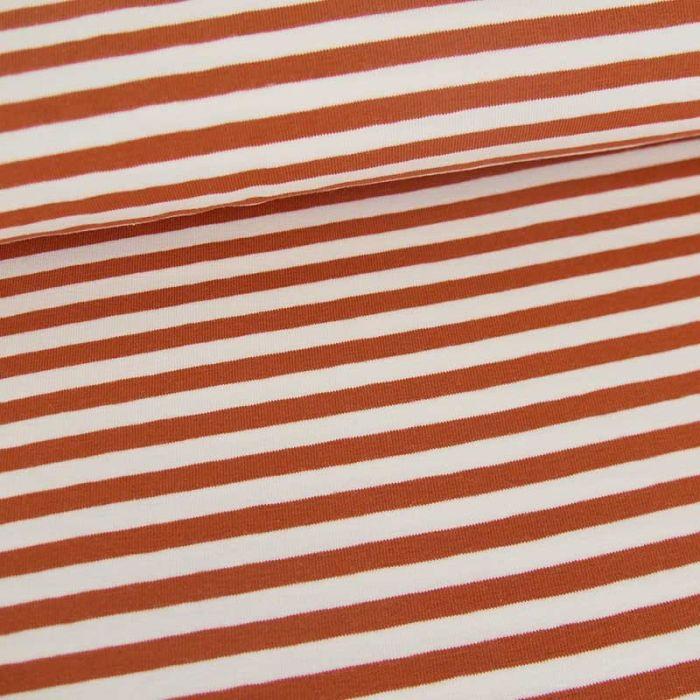Tissu jersey rayures Oeko-Tex - rouille x 10 cm