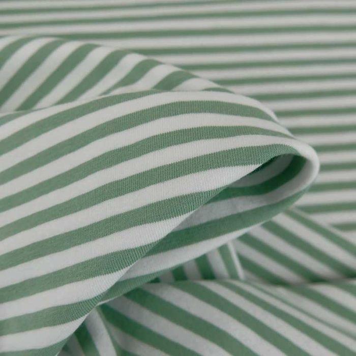 Tissu jersey rayures Oeko-Tex - vert x 10 cm