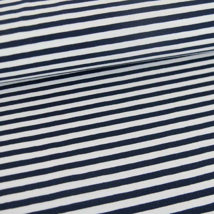 Tissu jersey rayures Oeko-Tex - bleu marine x 10 cm