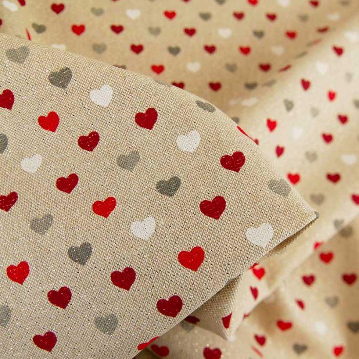Tissu coton effet lin petits coeurs lurex - beige x 10 cm