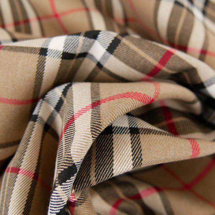 Tissu Polyviscose Oeko-Tex Tartan - beige x 10 cm