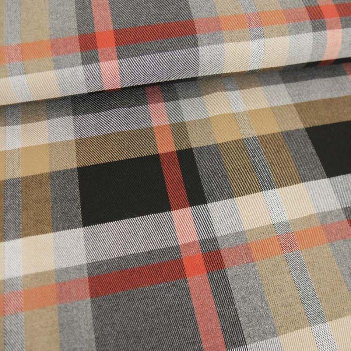Tissu Polyviscose Oeko-Tex Ecossais - Noir et Orange x 10 cm