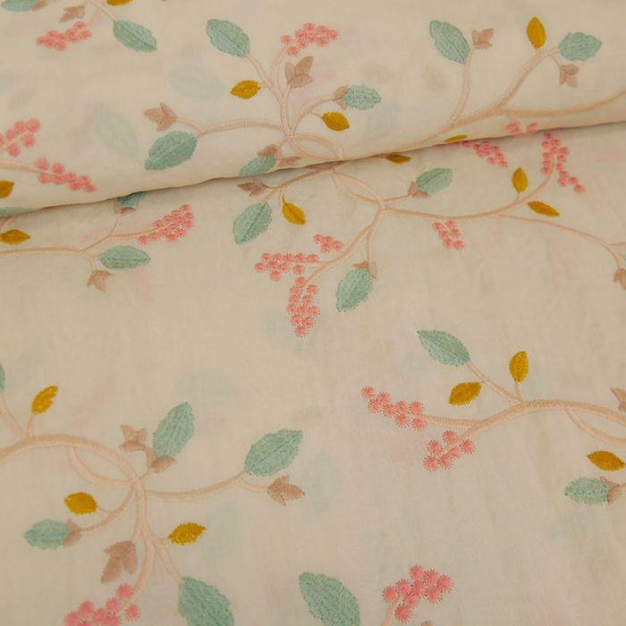 Tissu voile viscose broderie branches - écru x 10 cm