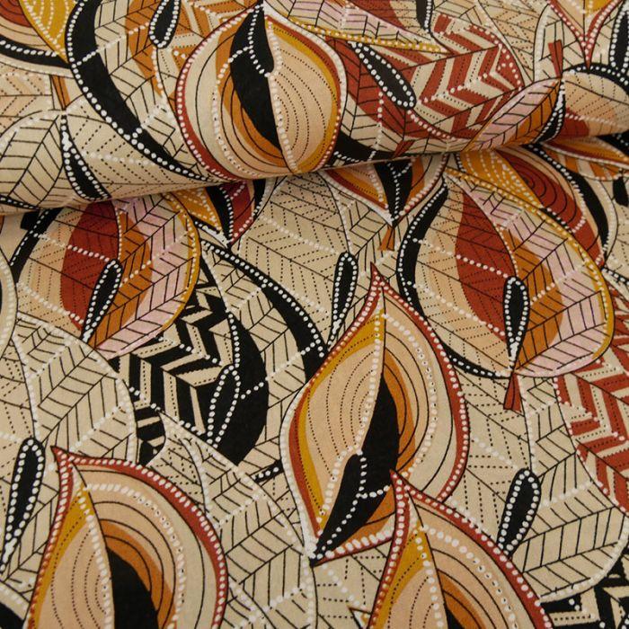 Tissu viscose feuillages - marron x 10 cm
