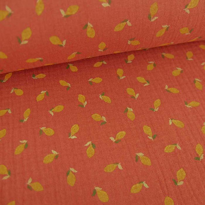Tissu double gaze de coton bio citrons - terracotta x 10cm